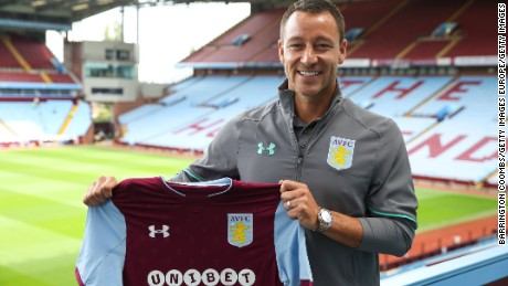 BIRMINGHAM, ENGLAND - JULY 03: Aston Villa's new signing John Terry during the press conference at Villa Park on July 3, 2017 in Birmingham, England. (Photo by Barrington Coombs/Getty Images)