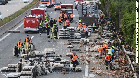 Firemen remove chicken and transport boxes from a highway near Linz, Austria on Tuesday.