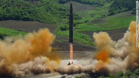 This picture taken and released on July 4, 2017 by North Korea's official Korean Central News Agency (KCNA) shows the test-fire of the intercontinental ballistic missile Hwasong-14 at an undisclosed location.