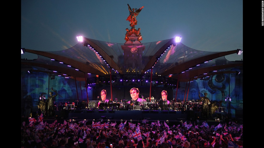 John performs at the Diamond Jubilee Concert.