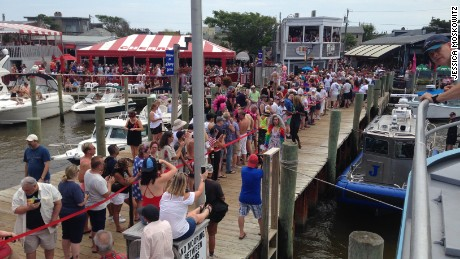 Drag queens line up to board the boat leaving the Grove area of Fire Island to head to the Pines for the Invasion.
