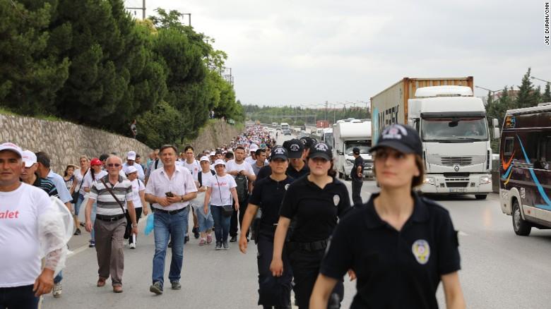 The police presence along the main E-5 highway heading towards Istanbul.