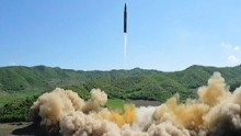 This image made from video of a news bulletin aired by North Korea's KRT on Tuesday, July 4, 2017, shows what was said to be the launch of a Hwasong-14 intercontinental ballistic missile, ICBM, in North Korea's northwest. Independent journalists were not given access to cover the event depicted in this photo. North Korea claimed to have tested its first intercontinental ballistic missile in a launch Tuesday, a potential game-changing development in its push to militarily challenge Washington — but a declaration that conflicts with earlier South Korean and U.S. assessments that it had an intermediate range. (KRT via AP Video)