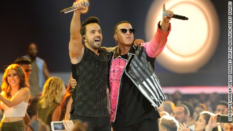 Luis Fonsi and Daddy Yankee perform onstage at the Billboard Latin Music Awards at Watsco Center on April 27, 2017 in Coral Gables, Florida.  (Photo by Sergi Alexander/Getty Images)