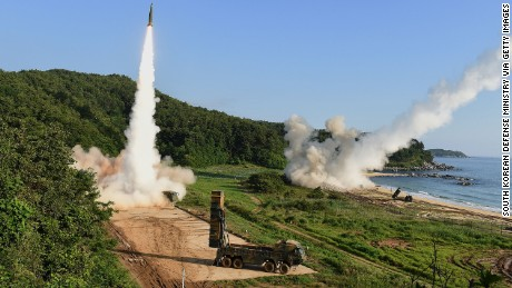 EAST COAST, SOUTH KOREA - JULY 05:  In this handout photo released by the South Korean Defense Ministry, South Korea's Hyunmu-2 Missile System (L) and U.S. M270 Multiple Launch Rocket System (R) firing missiles during a U.S. and South Korea joint missile drill aimed to counter North Korea's intercontinental ballistic missile test on  July 5, 2017 in East Coast, South Korea. The U.S. Army and South Korean military responded to North Korea's missile launch with a combined ballistic missile exercise on Wednesday, into South Korean waters along the country's eastern coastline.  (Photo by South Korean Defense Ministry via Getty Images)