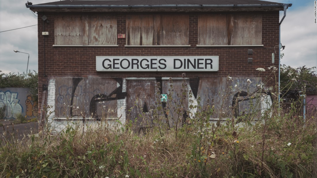 One of the many derelict buildings in Silvertown. Georges Diner (sic) -- a former café once popular with local workers.