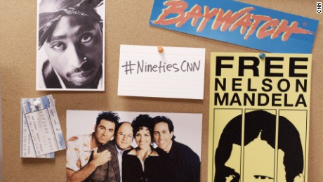 "A graphic composite used as marketing materials for the CNN Original Series, ""The Nineties."""