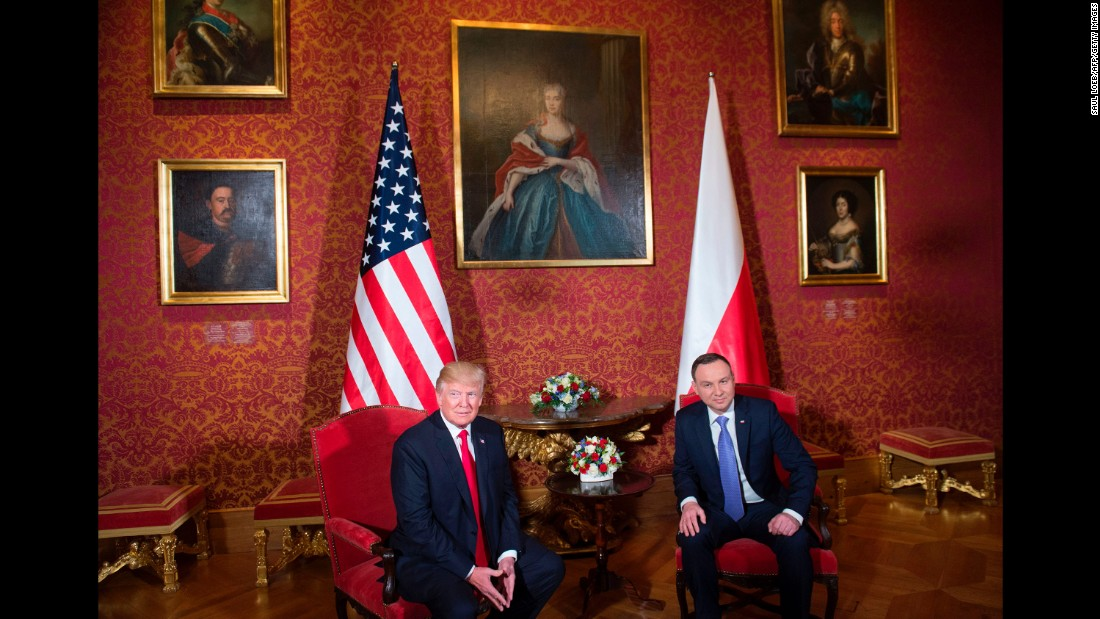 Duda and Trump meet at the Royal Castle in Warsaw on July 6.