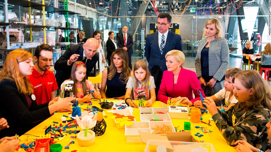 First ladies Melania Trump and Agata Kornhauser-Duda play with children as they visit the Copernicus Science Centre in Warsaw on July 6.