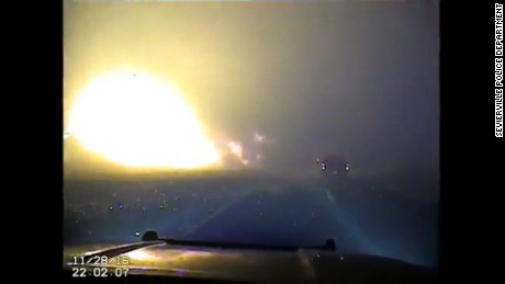Dashcam video from the Sevierville Police Department shows a fireball close to a road on November 28.