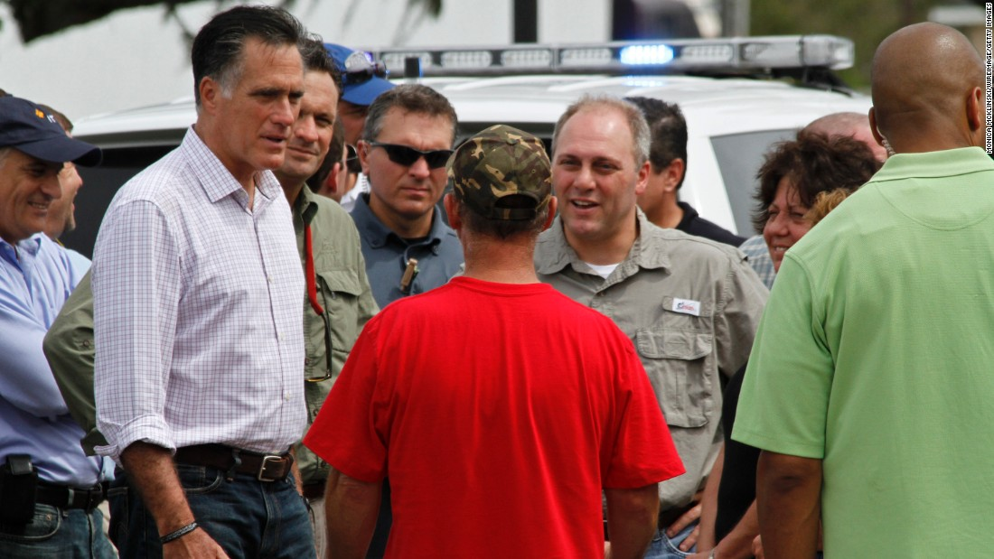 Republican presidential nominee Mitt Romney joins Scalise as he tours areas in Louisiana that were damaged by Hurricane Isaac in August 2012.