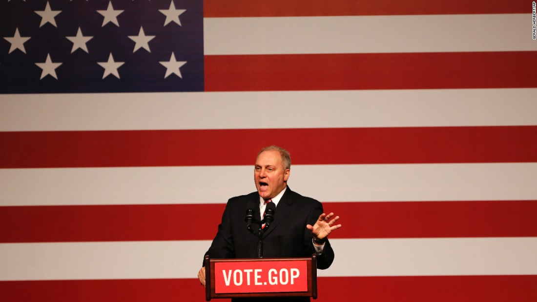 "Scalise speaks in December at a ""Get Out the Vote"" rally in New Orleans."