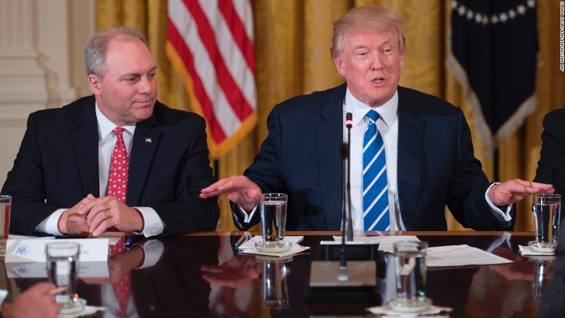Scalise attends a White House meeting with President Donald Trump in March.