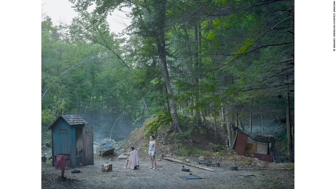 Crewdson is known to employ a regular lighting cameraman and dozens of film technicians, as well as props and movie-making tools like rain and fog machines to enhance a desired atmosphere.