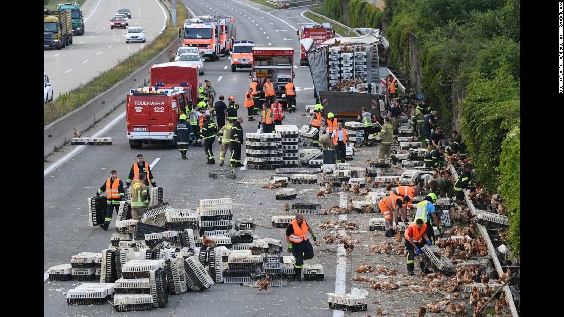 "Firefighters help clean up a highway in Asten, Austria, where <a href=""http://www.cnn.com/2017/07/04/europe/austria-chicken-highway/index.html"" target=""_blank"">a poultry truck collided with a bridge pillar</a> on Tuesday, July 4. Thousands of chickens ran onto the highway, an official said, and authorities were forced to close a section of the road because of heavy traffic and the presence of gawkers. Some chickens were killed in the accident. No humans were hurt."