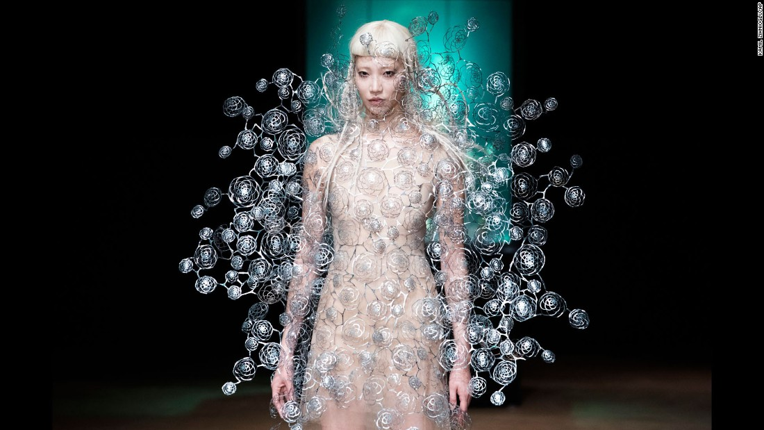 A model wears a creation for Dutch fashion designer Iris van Herpen during a presentation in Paris on Monday, July 3.