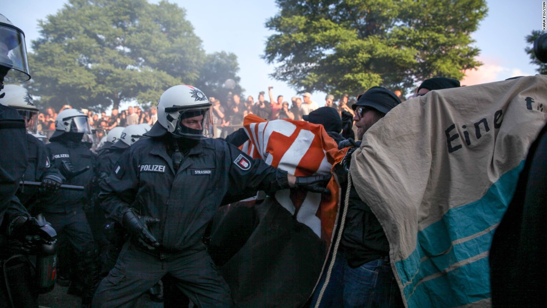 Police and protesters clash during the Welcome to Hell march.