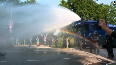 Police deploy water cannons on G20 protesters