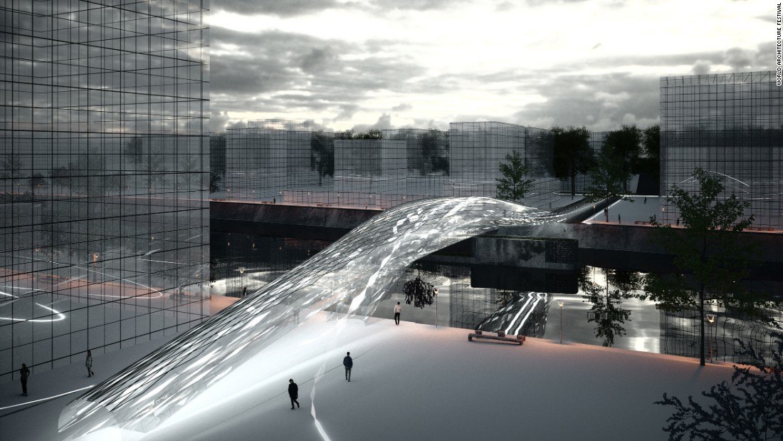 "This proposed footbridge uses mirrors to <a href=""http://www.spans-associates.com/brommy-new-footbridge-berlin"" target=""_blank"">""open a new virtual dimension.""</a> The design would be located on a site near the East Side Gallery in Berlin, where two bridges have already been built and destroyed."