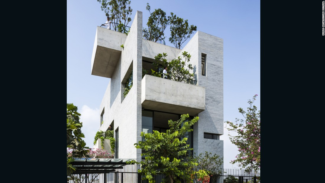 The Binh House in Ho Chi Minh City, Vietnam, features several spaces -- from the roof to the balconies -- for trees and plants. The architects hope that this will increase the presence of green spaces in cities.