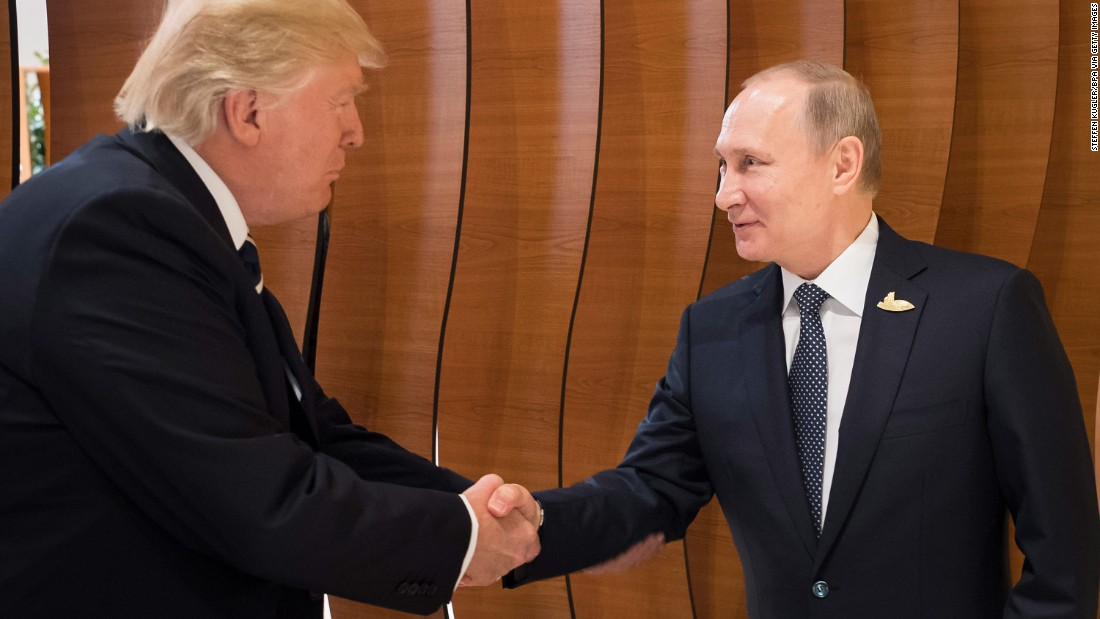 Trump greets Putin as the G20 summit gets underway in Hamburg.