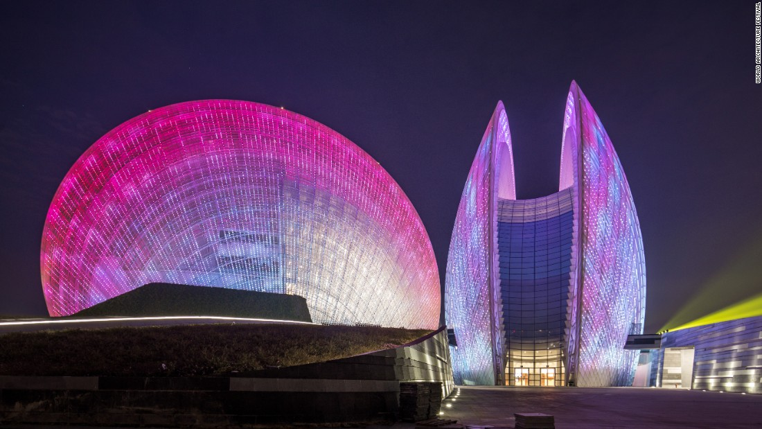 The Zhuhai Opera House in Zhuhai, China, is built of two shell-like structures, the larger of which sits at 90 meters (295 feet) tall, and the smaller at 60 meters (197 feet) tall. Collectively, both buildings can seat over 2,000 people.