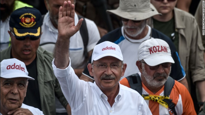 Turkey's main opposition party leader Kemal Kilicdaroglu began the march three weeks ago.