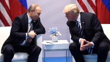 US President Donald Trump and Russia's President Vladimir Putin hold a meeting on the sidelines of the G20 Summit in Hamburg, Germany, on July 7, 2017. (SAUL LOEB/AFP/Getty Images)