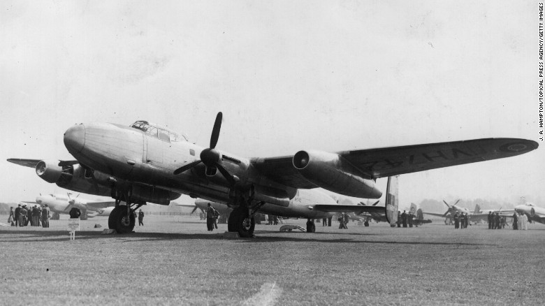 A Lancastrian aircraft on display at a trade show at Handley Page Airfield in Radlett, England, on July 12, 1946.