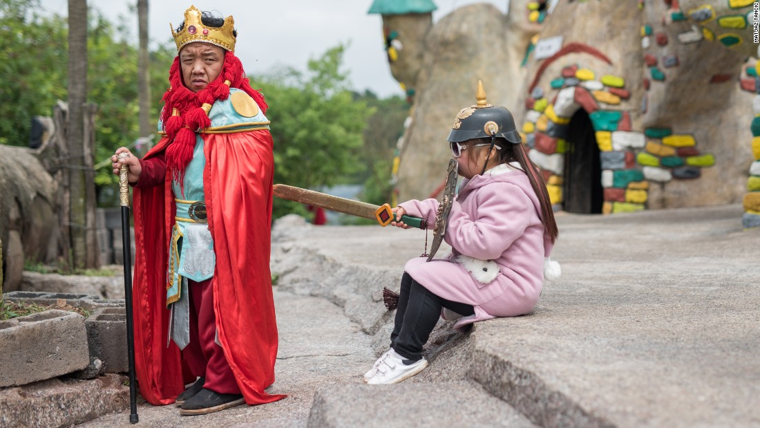 "A ""king"" is one of many cast in performances at the Kingdom of the Little People. The actors perform twice daily."
