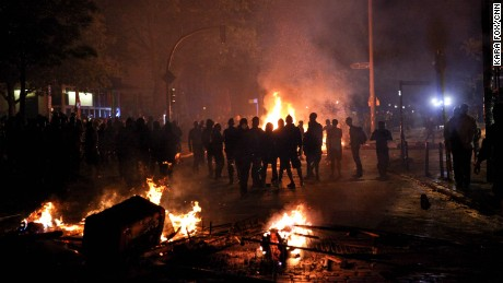 Anarchists riot in the Sternuschanze of Hamburg, Germany on June 6, following the first day of the G20 summit.