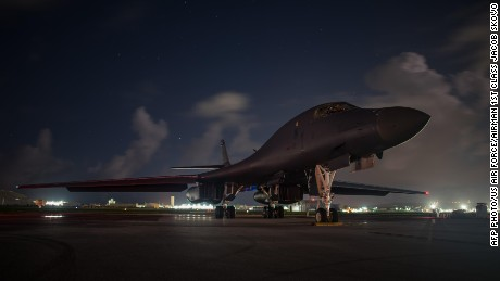 A US Air Force B-1B Lancer bombers sits at Andersen Air Force Base in Guam before conducting a mission over South Korea.