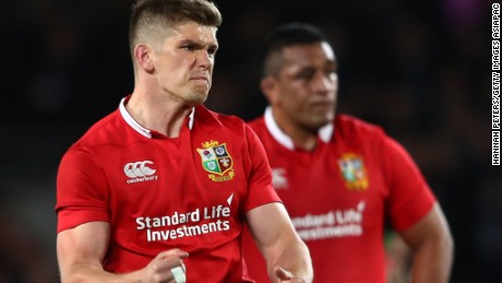 Owen Farrell kicked 12 points for the Lions, including the penalty to level the match at 15-15.