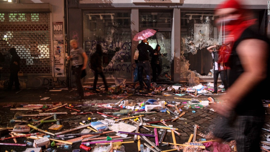Multiple shops were looted and destroyed.