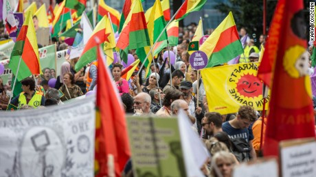 Kurds advocating for an independent state demonstrated at one of the rallies on Saturday.