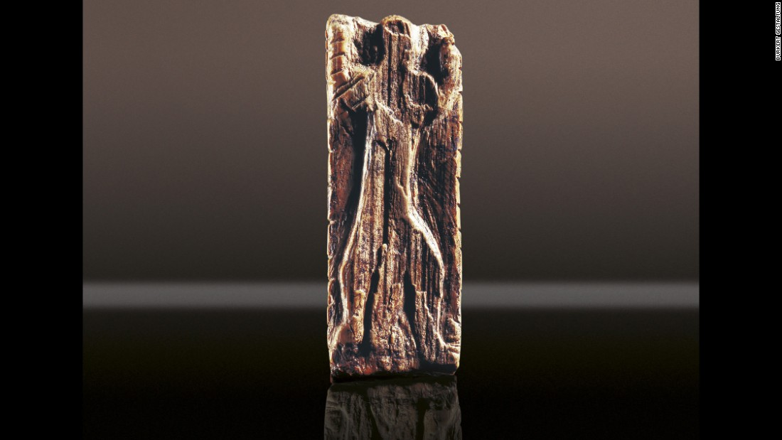 This anthropomorphic figure was found in the Geißenklösterle Cave along with mammoth and bear figurines. It is made from mammoth ivory and is 3.8 centimeters in length.