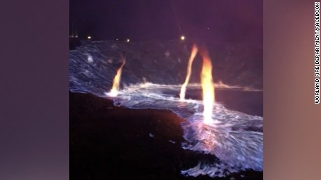 Sulfur fire emits blue flames