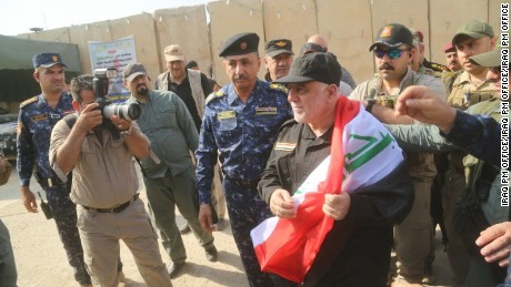 Iraqi Prime Minister Haidar al-Abadi arrived in Mosul, Sunday, July 9.