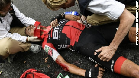 Pre-race favorite Richie Porte will play no further part in the 104th Tour de France after a serious crash on stage nine.
