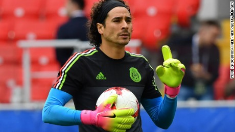 Mexico's goalkeeper Guillermo Ochoa gestures ahead of the 2017 FIFA Confederations Cup third place football match between Portugal and Mexico at the Spartak Stadium in Moscow on July 2, 2017. / AFP PHOTO / Yuri KADOBNOV        (Photo credit should read YURI KADOBNOV/AFP/Getty Images)