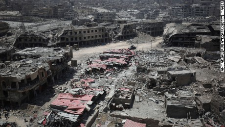 A picture taken on July 9, 2017, shows a general view of the destruction in Mosul's Old City.