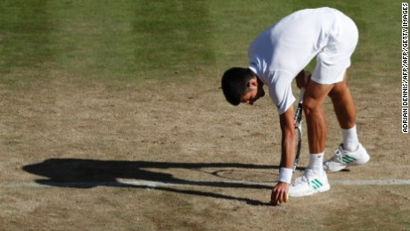 Novak Djokovic picks up a piece of loose turf from Centre Court during his third round match with Ernests Gulbis on Saturday.