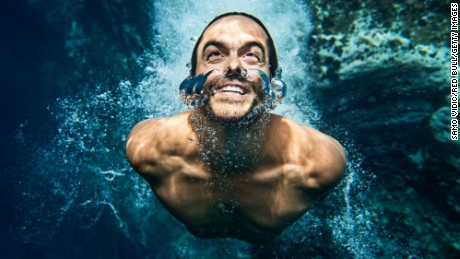 AZORES, PORTUGAL - JULY 7: (EDITORIAL USE ONLY) In this handout image provided by Red Bull, Orlando Duque of Colombia underwater after a dive on Islet Franca do Campo, the second stop of Red Bull Cliff Diving World Series on July 7, 2017 in Sao Miguel, Azores, Portugal. (Photo by Samo Vidic/Red Bull via Getty Images)