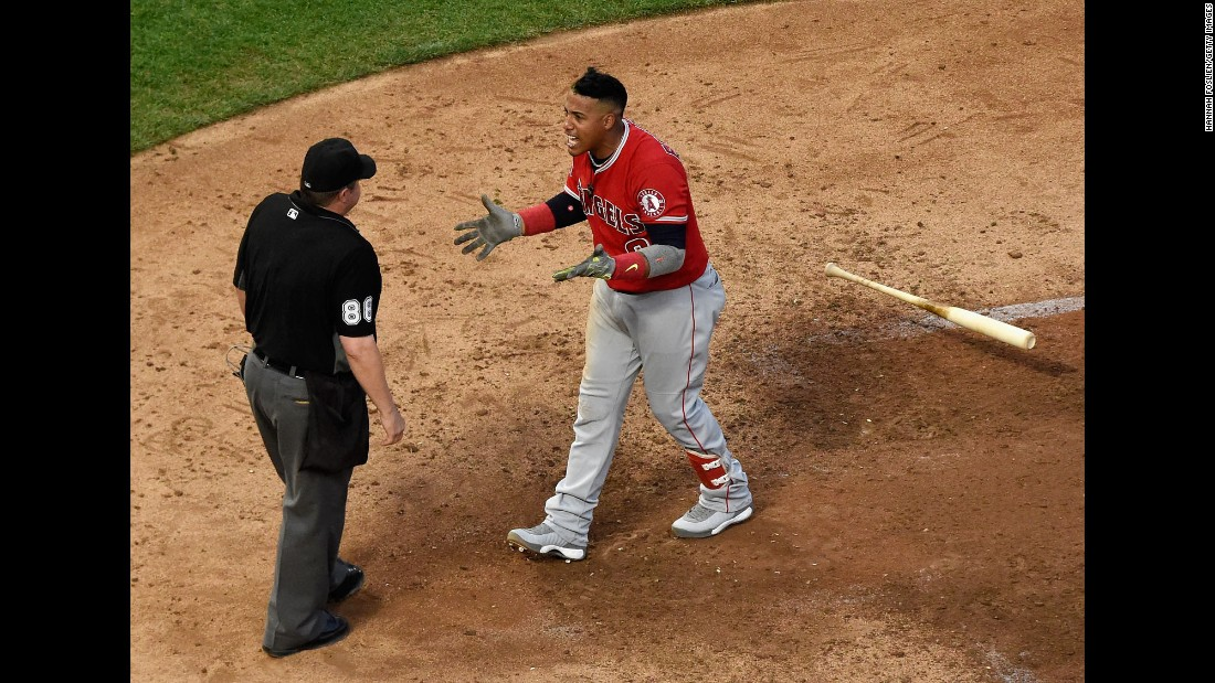 Yunel Escobar, a third baseman with the Los Angeles Angels, reacts after being ejected from a game in Minneapolis on Wednesday, July 5. Escobar was thrown out by umpire Doug Eddings after arguing a called third strike.