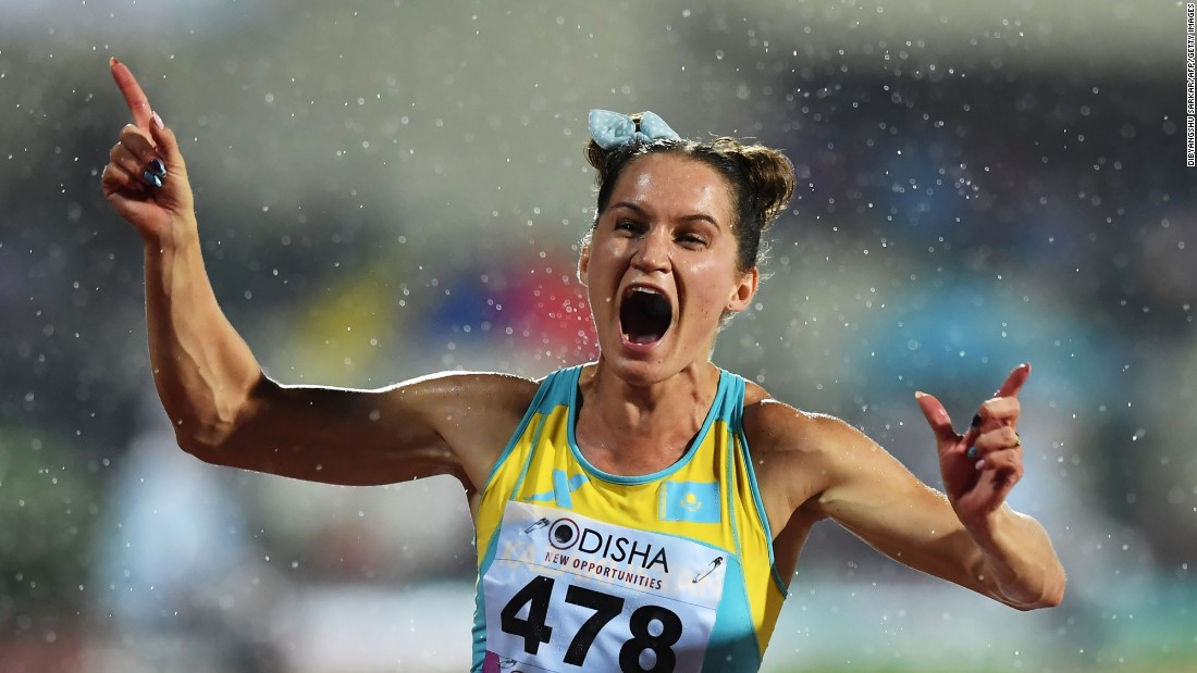 Kazakhstan's Viktoriya Zyabkin celebrates Friday, July 7, after winning the 100 meters at the Asian Athletics Championships.