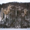 Front view of the rock formation Bruckfelswith the Geißenklösterle