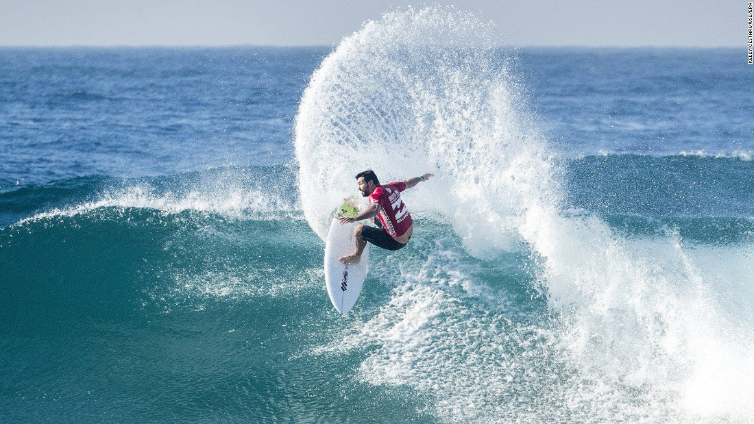 Brazilian surfer Willian Cardoso competes during an event in Ballito, South Africa, on Friday, July 7. He finished second to South Africa's Jordy Smith.