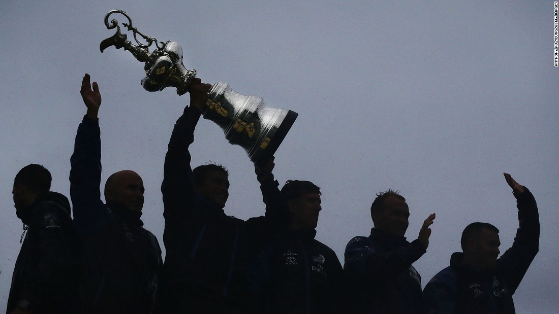 "Members of Emirates Team New Zealand lift the America's Cup during their victory parade in Auckland, New Zealand, on Thursday, July 6. <a href=""http://www.cnn.com/2017/06/26/sport/americas-cup-team-new-zealand-beat-oracle-team-usa/index.html"" target=""_blank"">The Kiwis trounced Oracle Team USA</a> to win back the sailing title they lost last year."