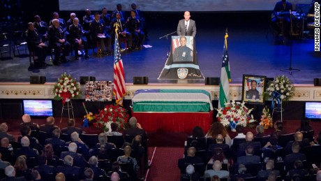 New York City Police Commissioner James O'Neill choked up as he spoke at the funeral for slain officer.