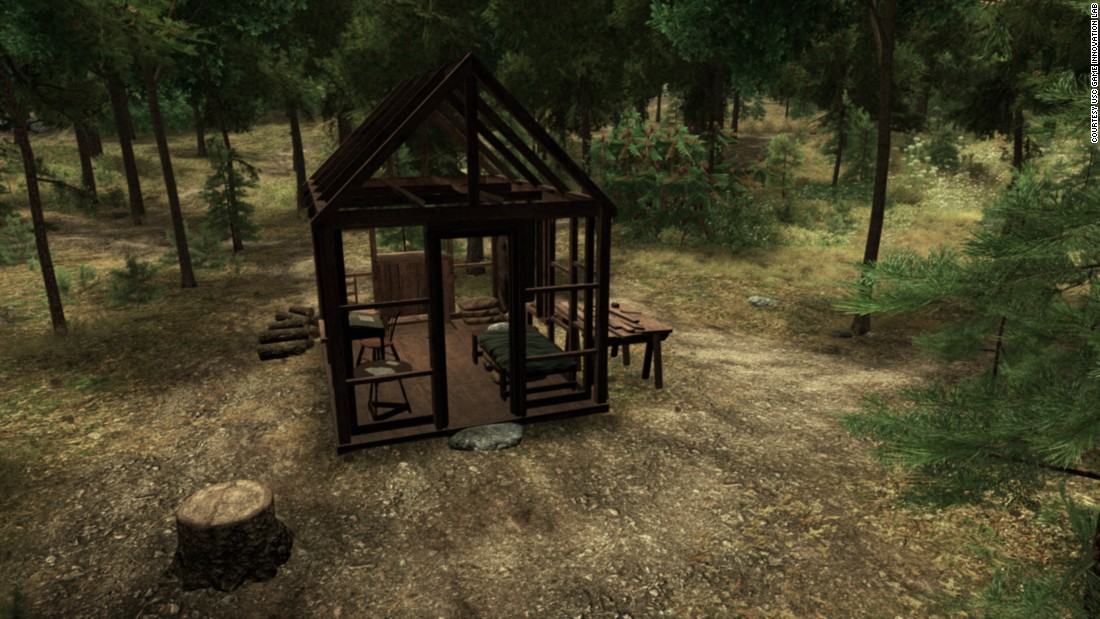 At the start of the game, the cabin is just a skeleton frame, allowing for views of trees and the occasional scurrying or flying animal.